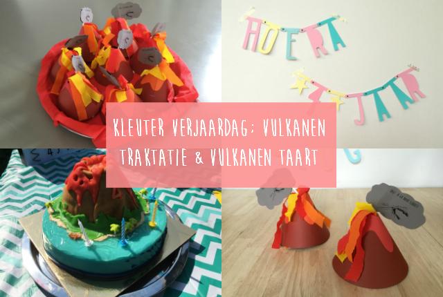 Kleuter verjaardag; vulkanen traktatie & vulkanen taart