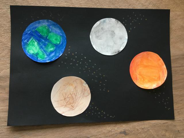 DIY; Ruimte knutsel - aquarel planeten